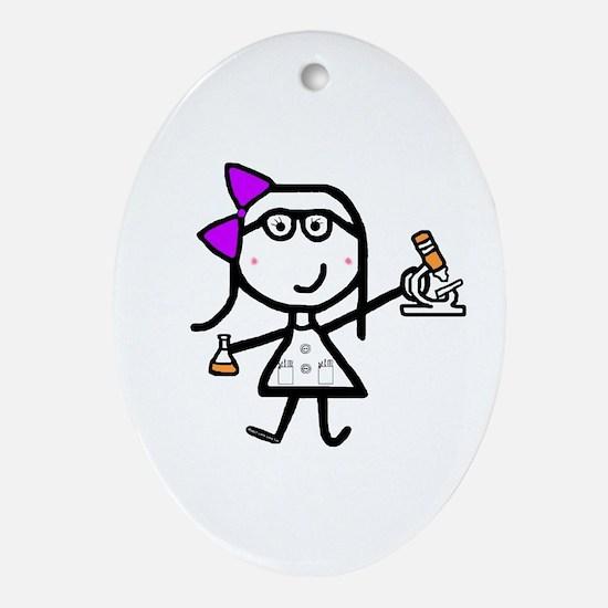 Girl & Microscope Oval Ornament