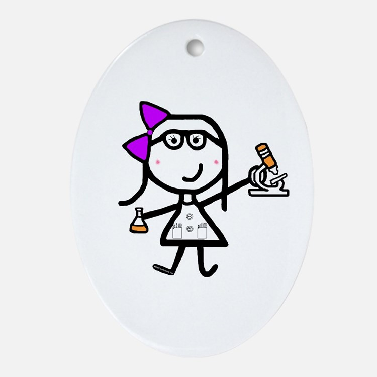 Girl & Microscope Oval Ornament
