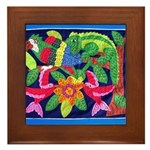 tropical forest animals mola Framed Tile