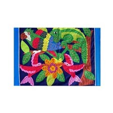 tropical forest animals mola Rectangle Magnet (100