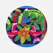 tropical forest animals mola Ornament (Round)