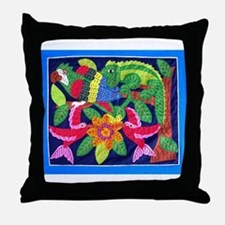 tropical forest animals mola Throw Pillow