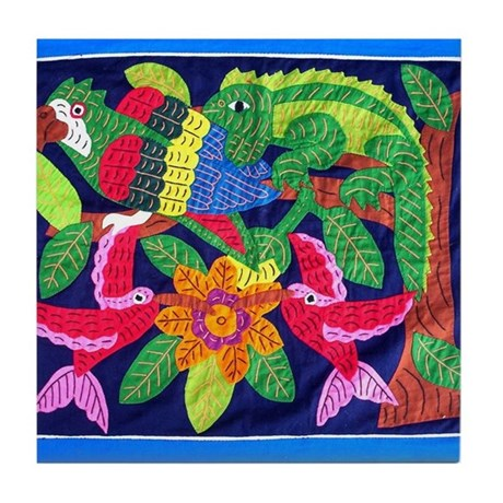 tropical forest animals mola Tile Coaster
