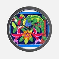 tropical forest animals mola Wall Clock