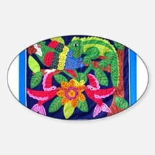 tropical forest animals mola Oval Decal