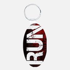 Run Aluminum Oval Keychain