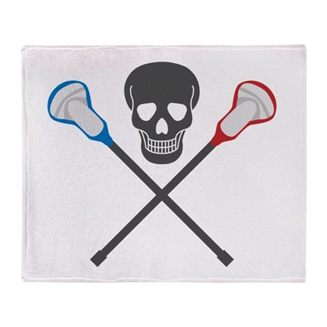 Skull and Lacrosse Sticks Throw Blanket