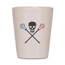 Skull and Lacrosse Sticks Shot Glass