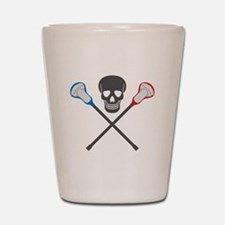 Skull and Lacrosse Sticks Shot Glass