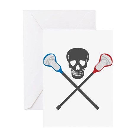 Skull and Lacrosse Sticks Greeting Card