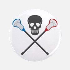 """Skull and Lacrosse Sticks 3.5"""" Button"""