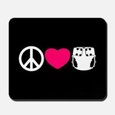 Peace, Love, Cloth Mousepad