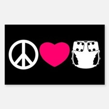 Peace, Love, Cloth Sticker (Rectangle)