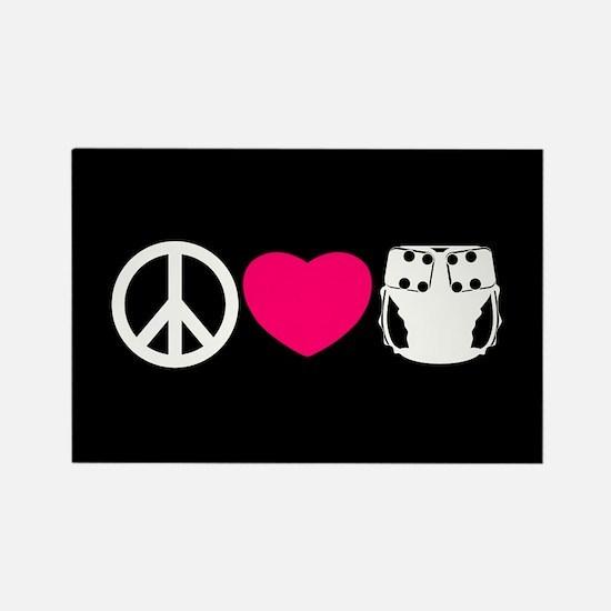 Peace, Love, Cloth Rectangle Magnet