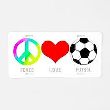 Peace Love Futbol Aluminum License Plate