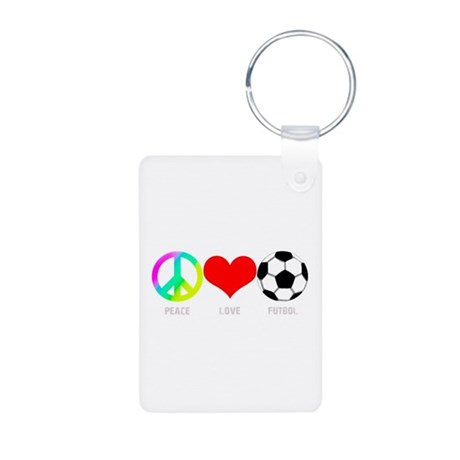 Peace Love Futbol Aluminum Photo Keychain