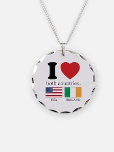 USA-IRELAND Necklace Circle Charm