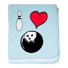 I Love Bowling baby blanket