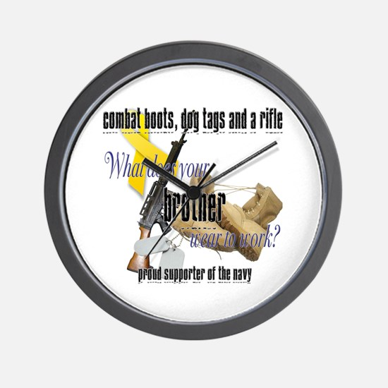 Navy What Does Your Brother Wear Wall Clock