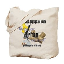 Navy What Does Your Girlfriend Wear Tote Bag