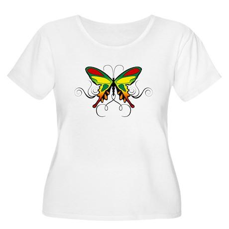 Reggae Butterfly Women's Plus Size Scoop Neck T-Sh