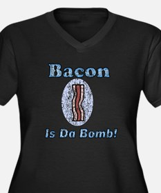 Vintage Bacon is Da Bomb Women's Plus Size V-Neck