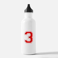 Varsity Font Number 3 Red Water Bottle