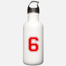 Varsity Font Number 6 Red Water Bottle