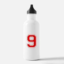 Varsity Font Number 9 Red Water Bottle