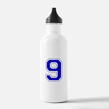 Varsity Font Number 9 Blue Water Bottle