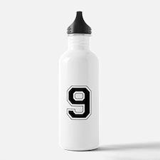 Varsity Font Number 9 Black Water Bottle