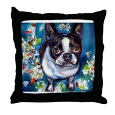 Boston Terrier shredder misch Throw Pillow