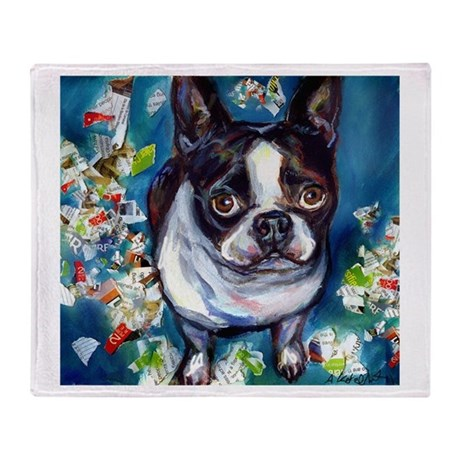 Boston Terrier shredder misch Throw Blanket