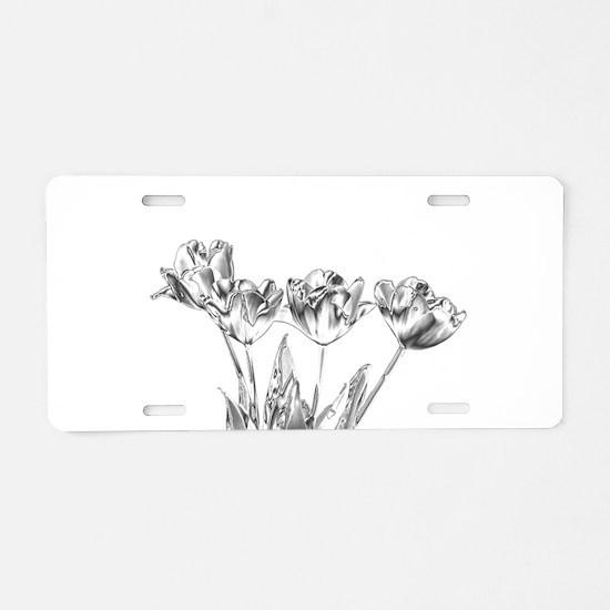 Chrome Tulip Aluminum License Plate