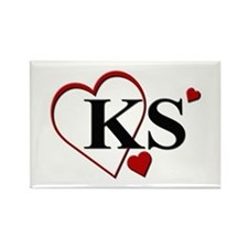 Love KS Kansas Heart Rectangle Magnet