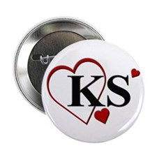 "Love KS Kansas Heart 2.25"" Button"