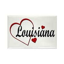 Love Louisiana Hearts Rectangle Magnet