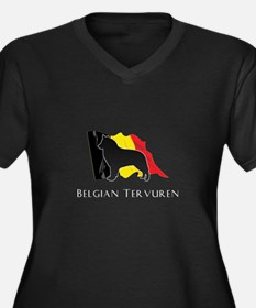 """Belgian"" Tervuren Women's Plus Size V-Neck Dark T"