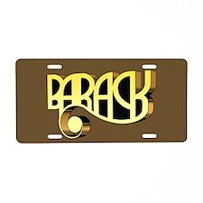 Brown Deco Barack Aluminum License Plate