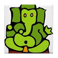 Green Ganesha Tile Coaster