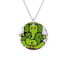 Green Ganesha Necklace Circle Charm