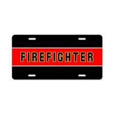 FIREFIGHTER Thin Red Line Aluminum License Plate