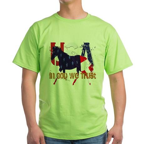 Patriotic Horse Green T-Shirt