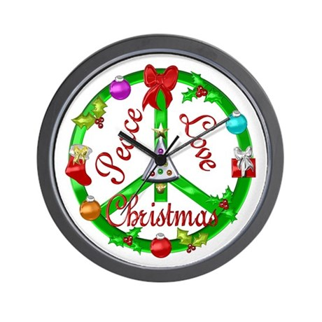 Christmas Peace Sign Wall Clock