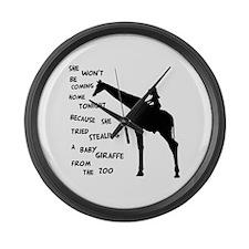 Giraffenapping Large Wall Clock
