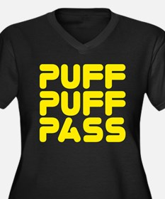 Puff Puff Pass Women's Plus Size V-Neck Dark T-Shi