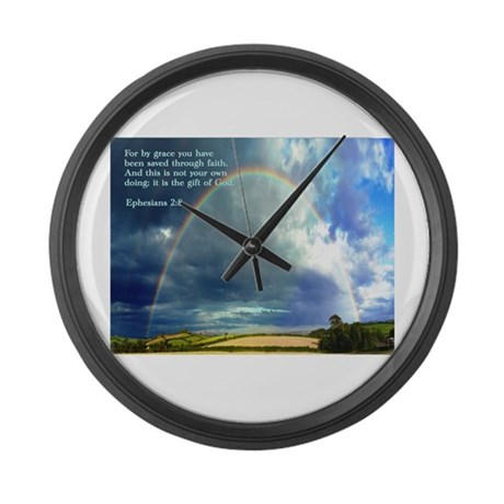 Ephesians 2:8 Large Wall Clock