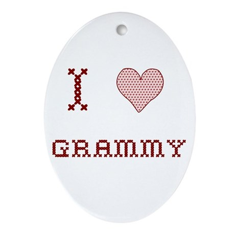I [Heart] Grammy Oval Ornament