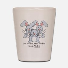 No Evil Bunnies Shot Glass