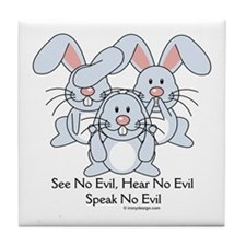 No Evil Bunnies Tile Coaster